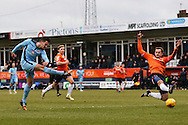Ryan Donaldson of Cambridge United (right) shoots during the Sky Bet League 2 match at Kenilworth Road, Luton<br /> Picture by David Horn/Focus Images Ltd +44 7545 970036<br /> 31/01/2015