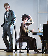London, UK. 13.03.2017. English National Opera presents Christopher Alden's production of &quot;Partenope&quot;, by George Frederic Handel at the London Coliseum.<br /> <br /> Sarah Tynan<br /> Partenope<br /> <br /> <br /> Emilio<br /> Rupert Charlesworth