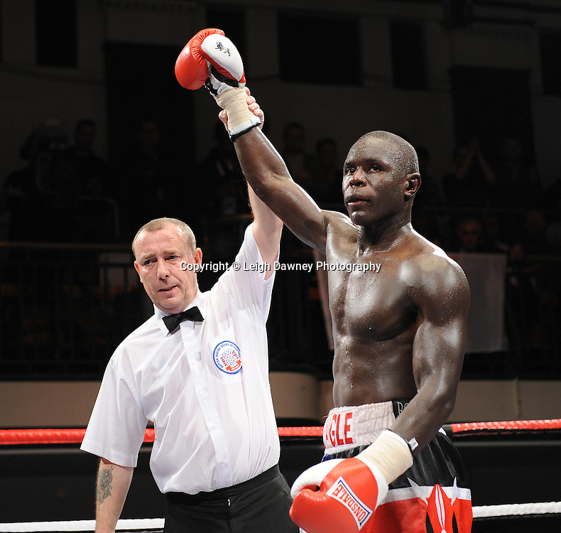 Erick Ochieng (pictured) defeats Dee Mitchell in a 6x3min Light Middleweight contest at York Hall 09.11.11. Matchroom Sport. Photo credit: © Leigh Dawney 2011.