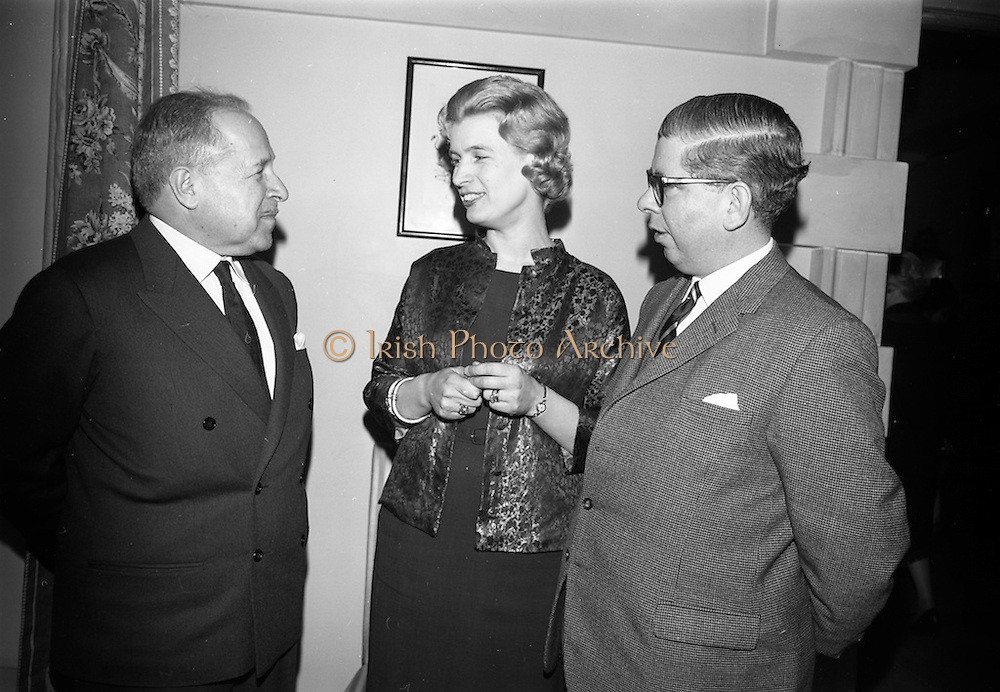 09/04/1964<br /> 04/09/1964<br /> 09 April 1964<br /> Canadian Embassy Reception for Pierre Dupuy, C.M.G., Commissioner General of the Canadian Universal and International Exhibition 1967, at the Canadian Embassy in Killiney, Dublin. T the reception were: Mr Pierre Dupuy; Mrs E.T. Galpin and Mr E.T. Galpin, 1st Secretary and Consul.