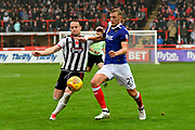 Dean Moxey (21) of Exeter City battles for possession with  Ben Davies (2) of Grimsby Town during the EFL Sky Bet League 2 match between Exeter City and Grimsby Town FC at St James' Park, Exeter, England on 11 November 2017. Photo by Graham Hunt.