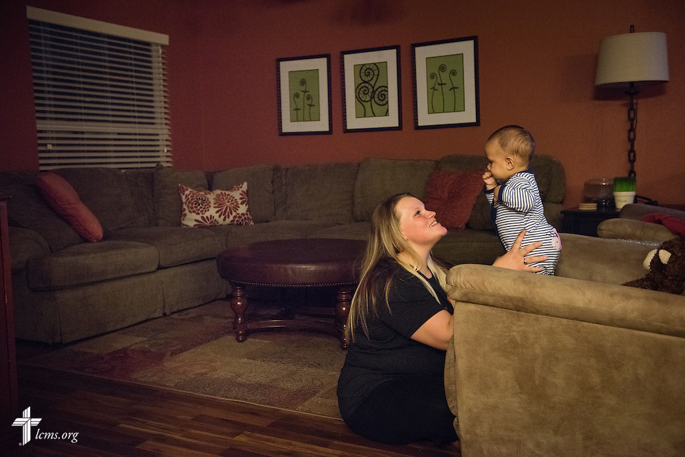 Caroline plays with her baby Maxwell at Redeeming Life Maternity Home on Thursday, Feb. 12, 2015, in Sanford, Fla. The Christ-centered home of Redeeming Life Outreach Ministries is a safe haven for single women in crisis pregnancy. LCMS Communications/Erik M. Lunsford