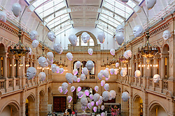 The Floating Heads installation by Sophie Cave at Kelvingrove Museum and Art Gallery in Glasgow Scotland united Kingdom