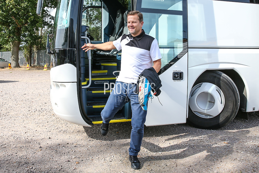 Forest Green Rovers manager, Mark Cooper stepping off the team coach during the Vanarama National League match between Braintree Town and Forest Green Rovers at the Amlin Stadium, Braintree, United Kingdom on 24 September 2016. Photo by Shane Healey.
