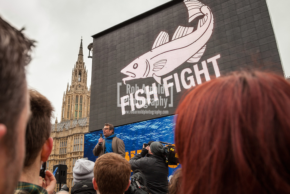 25/02/2013 - Westminster, London, UK - Hugh Fearnley-Whittingstall addresses supporters of the Fish Fight Campaign to increase the number of Marine Conservation Zones around in UK waters. Photo by Rob Arnold