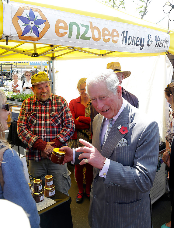 Prince Charles, Prince of Wales with some honey at a stall in the Nelson market during his public walkabout in Nelson, New Zealand, Saturday, November 07, 2015. Credit:SNPA / Reuters, Anthony Phelps **POOL**