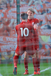KIRKBY, ENGLAND - Saturday, January 26, 2019: Liverpool's Bobby Duncan (#10) celebrates scoring the second goal with team-mate captain Paul Glatzel during the FA Premier League match between Liverpool FC and Manchester United FC at The Academy. (Pic by David Rawcliffe/Propaganda)