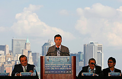 October 1, 2008; New York, NY, USA;  Oscar De La Hoya speaks at the press conference announcing his December 6, 2008 fight against Manny Pacquaio.  The two fighters will meet at the MGM Grand Garden Arena.