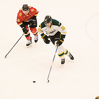 2nd year defence man Carter Hansen (15) of the Regina Cougars in action during the Men's Hockey home game on February 3 at Co-operators arena. Credit: Arthur Ward/Arthur Images