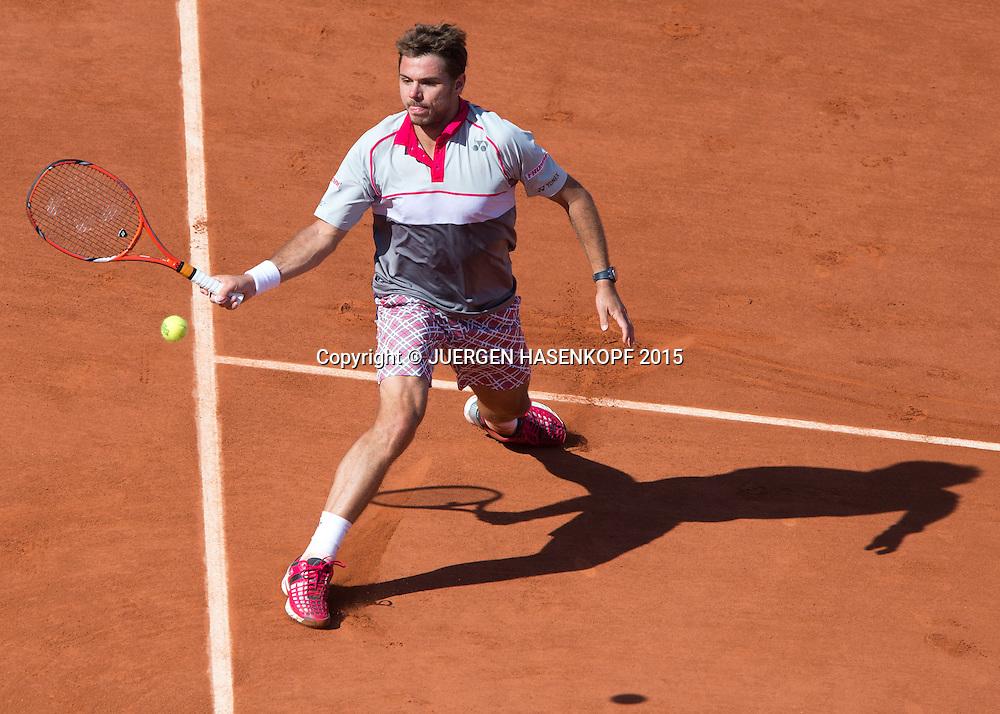 Stan Wawrinka (SUI) und Schatten , von oben,Herren Finale,Endspiel,<br /> Tennis - French Open 2015 - Grand Slam ITF / ATP / WTA -  Roland Garros - Paris -  - France  - 7 June 2015.