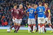 Both sets of players clash following an incident between Steven Naismith of Hearts & Connor Goldson of Rangers FC during the Betfred Scottish League Cup semi-final match between Rangers and Heart of Midlothian at Hampden Park, Glasgow, United Kingdom on 3 November 2019.