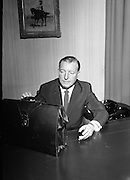 Minister for Finance, Charles Haughey, prepares to administer some belt-tightening measures on Budget Day..23.04.1968