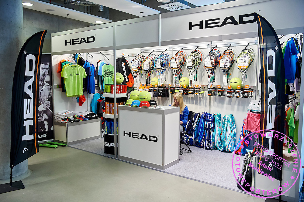 GDANSK, POLAND - 2016 MARCH 06: Head commercial stand during the Davis Cup / World Group 1st round tennis match between Poland and Argentina at Ergo Arena on March 6, 2016 in Gdansk, Poland<br /> <br /> Picture also available in RAW (NEF) or TIFF format on special request.<br /> <br /> Any editorial, commercial or promotional use requires written permission.<br /> <br /> Mandatory credit:<br /> Photo by &copy; Adam Nurkiewicz / Mediasport