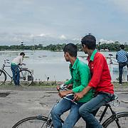 The Brahmaputra river outside Tezpur, Assam state, India