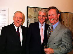 Left to right, MR TERRY MAJOR-BALL, former Prime Minister MR JOHN MAJOR and MR TOM MOSS son of John Major's half brother, at a party in London on 11th October 1999.MXK 47