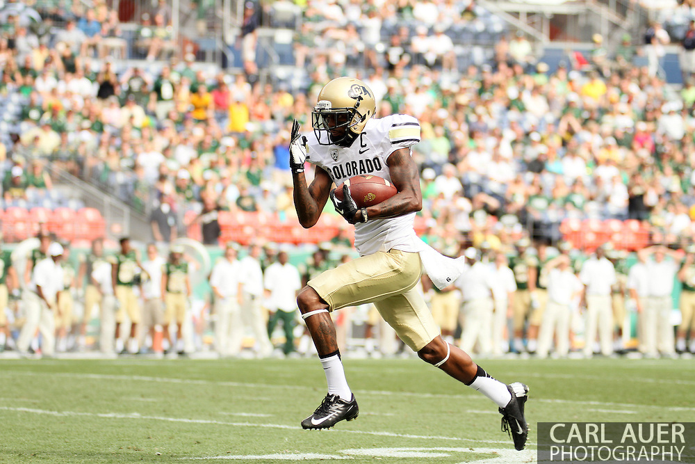 September 1st, 2013 - Colorado Buffaloes junior wide receiver Paul Richardson (6) sprints to the end zone for a 82 yard touchdown reception in the first half of action in the NCAA football game between the Colorado Buffaloes and the Colorado State Rams at Sports Authority Field in Denver, CO
