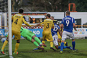 Eastleigh FC Defender Reda Johnson scores a goal to make it 2-1 during the Vanarama National League match between Southport and Eastleigh at the Merseyrail Community Stadium, Southport, United Kingdom on 17 December 2016. Photo by Pete Burns.