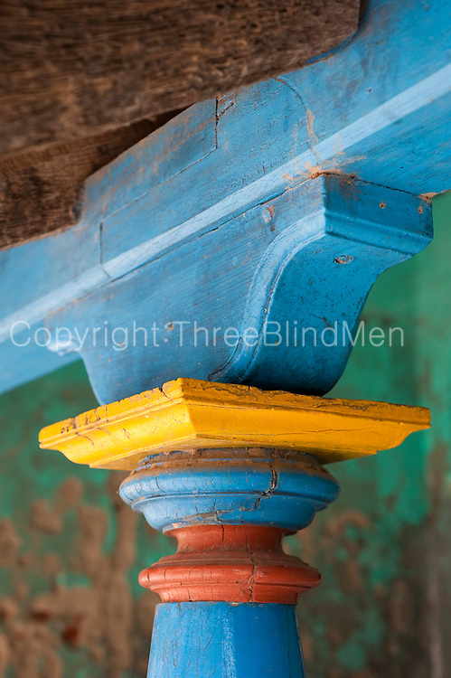 Pillar and rafter detail. Goldsmith Street, Tranquebar.<br /> Tamil Nadu state. South India.
