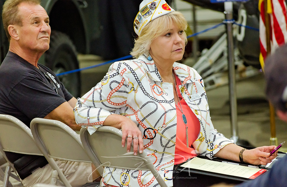 Veteran Richard Rydin and Department of Alabama Senior Vice Commander Donna Stacey listen as veterans share stories of their VA experiences during the Mobile SWS Town Hall at USS Alabama Battleship Memorial Park in Mobile, Ala., on Friday, April 3, 2017. (Photo by Carmen K. Sisson/Cloudybright)