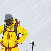 Portrait of Andy Mahre getting ready for some skiing.