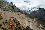 Wouter the Mad Scientist descends the west slope of 16,040 ft. Punta Olimpica Pass in Peru's Cordillera Blanca, one of the highest passes in the world - Huascaran National Park - South America