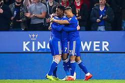 Demarai Gray of Leicester City celebrates with teammates after scoring a goal to make it 1-0 - Mandatory by-line: Robbie Stephenson/JMP - 26/02/2019 - FOOTBALL - King Power Stadium - Leicester, England - Leicester City v Brighton and Hove Albion - Premier League