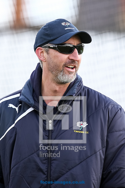 Jason Gillespie, Yorkshire County Cricket Club First XI Coach, during the Friendly match at the County Ground, Northampton, Northampton<br />