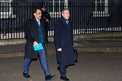 London, UK. 3 December, 2019. Hulusi Akar (r), the Turkish Minister of Defence, leaves 10 Downing Street following a meeting between Turkish President Recep Tayyip Erdoğan and French President Emmanuel Macron hosted by Prime Minister Boris Johnson and German Chancellor Angela Merkel to discuss the ongoing dispute between the two Presidents following the Turkish invasion of Kurdish-controlled areas of northern Syria.