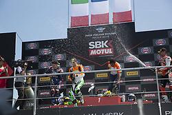 May 13, 2018 - Imola, Italy, Italy - Winner podium race SuperSport 16 Jules Cluzel FRA Yamaha YZF R6 NRT; 64 Federico Caricasulo ITA Yamaha YZF R6 GRT Yamaha Official WorldSSP Team; -3 Raffaele De Rosa ITA MV Agusta F3 675 MV Agusta Reparto Corse by Vamag during the Motul FIM Superbike Championship - Italian Round  race SuperSport  during the World Superbikes - Race at Enzo & Dino Ferrari Circuit on May 13, 2018 in Imola, Italy. (Credit Image: © Fabio Averna/NurPhoto via ZUMA Press)