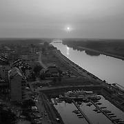 View of Osijek on the left and the Drava River. The river became the boundary between Serbia and Croatia frontlines when fighting ceased after Croatia broke away from the former Yugoslavia.