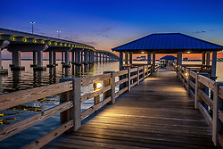 Sunset near the Ocean Springs bridge on the Mississippi Gulf Coast