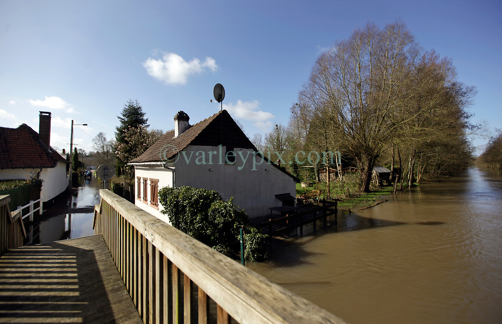 12 March 2020. Beaumerie St Martin, Pas de Calais, France.<br /> Following months of record rainfalls, the Canche River near Montreuil Sur Mer burst its banks flooding local homes. The river last flooded in 2013, however residents claim they have never seen it as bad as this.<br /> Photo©; Charlie Varley/varleypix.com