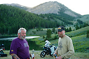 Pete Springer from Wyoming talks to another rider at Morrison Lake, MT
