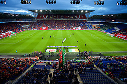 CARDIFF, WALES - Thursday, September 6, 2018: The teams walk out before the UEFA Nations League Group Stage League B Group 4 match between Wales and Republic of Ireland at the Cardiff City Stadium. (Pic by Laura Malkin/Propaganda)