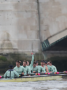 "London, Great Britain, Cambridge ""Fuete"" celebrate winning the The BNY Mellon Men's Boat Race, Trail Eights. Championship Course. Tideway Week, Putney to Mortlake. ENGLAND. <br /> <br /> Sunday 13.12.2015.<br /> [Mandatory Credit; Peter Spurrier/Intersport-images]<br /> <br /> CUBC Trial VIII's between FUERTE on Surrey and LISTO on Middlesex<br /> <br /> FUERTE, Bow, Peter Carey, 2, Patrick Elwood, 3, Alister Taylor, 4, Peter Rees, 5, Charlie Fisher, 6, Ali Abbasi, 7, Luke Juckett, Stroke, Lance Tredell, Cox, Ian Middleton<br /> <br /> LISTO, Bow, Piers Kasas, Felix Newman, 3, Sam Ringer, 4, Joe Carroll, 5, Clemens Auersperg, 6, Vincent Bertram, 7, Henry Hoffstot, Stroke, Ben Ruble, Cox, Hugo Ramambason"
