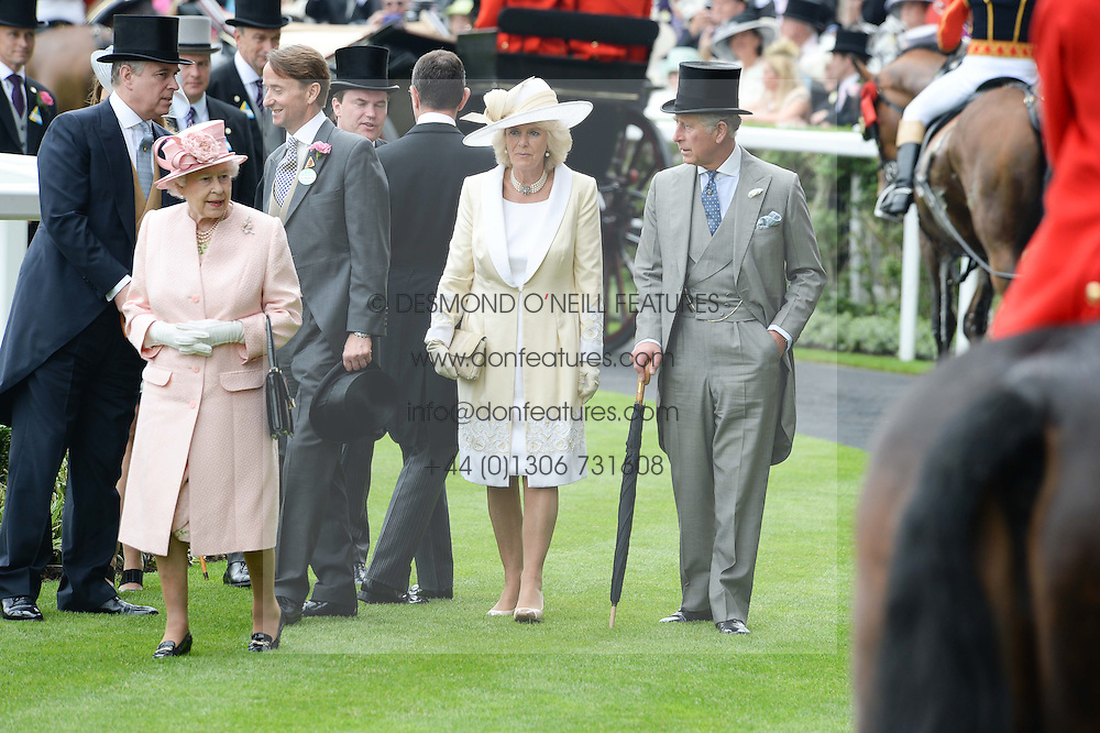 Left to right, HM The QUEEN, HRH The DUCHESS OF CORNWALL and HRH The PRINCE OF WALES at Day 1 of the 2013 Royal Ascot Racing Festival at Ascot Racecourse, Ascot, Berkshire on 18th June 2013.
