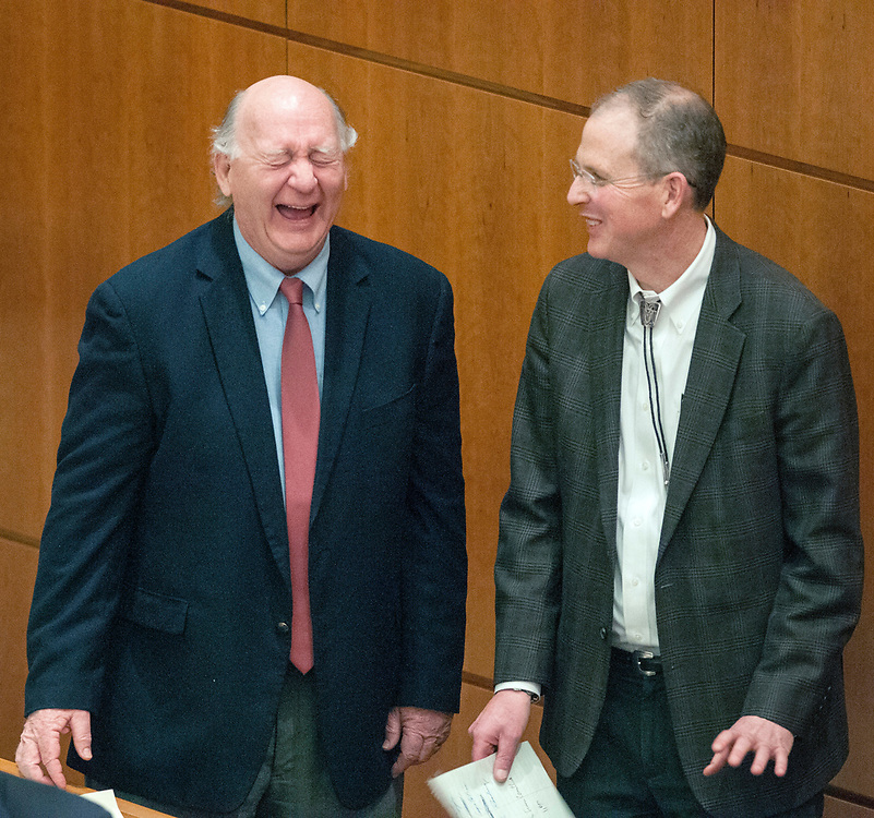 em030317a/a/Sen. Cisco McSorley, D-Albuquerque, jokes with Sen. Majority Leader Peter Wirth, D-Santa Fe, after his bill to allow industrial hemp to be grown in the state passes the Senate. This was on the Senate Floor in Santa Fe Friday March 3, 2017.   (Eddie Moore/Albuquerque Journal