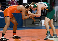 Michael Chaires of the University of Virginia takes on Steve Courtney of George Mason University in the 165lb weight class.  The 2008 Virginia Intercollegiate Wresting Championships were hosted by the University of Virginia at the John Paul Jones Arena in Charlottesville, VA on January 5, 2008.