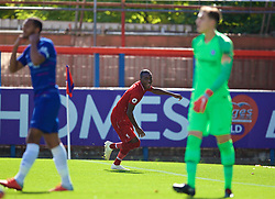 LONDON, ENGLAND - Saturday, September 29, 2018: Liverpool's Rafael Camacho celebrates scoring the first goal during the Under-23 FA Premier League 2 Division 1 match between Chelsea FC and Liverpool FC at The Recreation Ground. (Pic by David Rawcliffe/Propaganda)