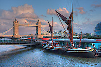 tower bridge at dusk on the river thames in april 2008, london england