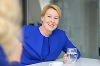 19 AUG 2019, BERLIN/GERMANY:<br /> Franziska Giffey, SPD, Bundesfamilienministerin, waehrend einem Doppel-Interview mit J ens S pahn (nicht im Bild), CDU, Bundesgesundheitsminister, Redaktionsvertretung der Rheinischen Post<br /> IMAGE: 20190819-01-014