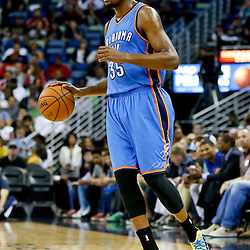Dec 2, 2014; New Orleans, LA, USA; Oklahoma City Thunder forward Kevin Durant (35) against the New Orleans Pelicans during a game at the Smoothie King Center. The Pelicans defeated the Thunder 112-104. Mandatory Credit: Derick E. Hingle-USA TODAY Sports