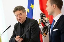 08.01.2020, Bundeskanzleramt, Wien, AUT, 24.04.2019, Bundeskanzleramt, Wien, AUT, Bundesregierung, Pressefoyer nach Sitzung des Ministerrats, im Bild v. l. Werner Kogler (Gruene), Gernot Bluemel (OeVP)// during media briefing after cabinet meeting at the federal chancellery in Vienna, Austria on 2020/01/08. EXPA Pictures © 2020, PhotoCredit: EXPA/ Florian Schroetter