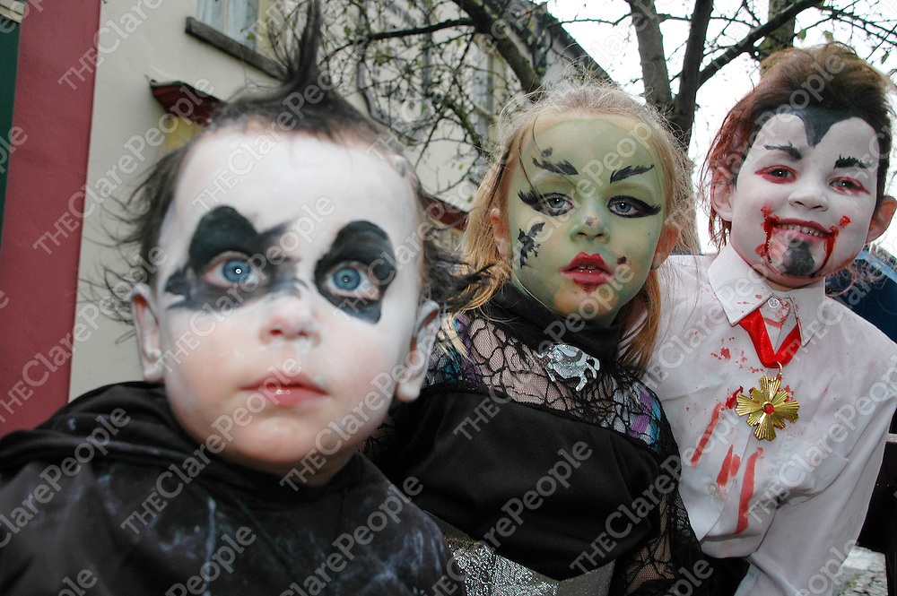 31/10/2005<br />Attending the Fancy Dress Competition at Bunratty Castle &amp; Folk Park was Jack Gannon aged 1, Aimee Noonan aged 5, and Aoibheen Noonan aged 5, all from Cloonlera Co.Clare.<br /><br />Picture. Cathal Noonan/Press22.
