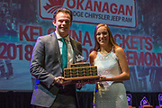 KELOWNA, CANADA - MARCH 18:  Most Improved Award Sponsored by Western Star R James Management Group.  The award was presented by Allie Siegmann to Carsen Twarynski at the Kelowna Rockets Awards Ceremony on March 18, 2018 at The Kelowna Community Theatre  in Kelowna, British Columbia, Canada.  (Photo By Cindy Rogers/Nyasa Photography,  *** Local Caption ***