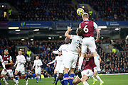 Burnley defender Ben Mee (6) gets up to head the cross ball during the Premier League match between Burnley and Chelsea at Turf Moor, Burnley, England on 26 October 2019.