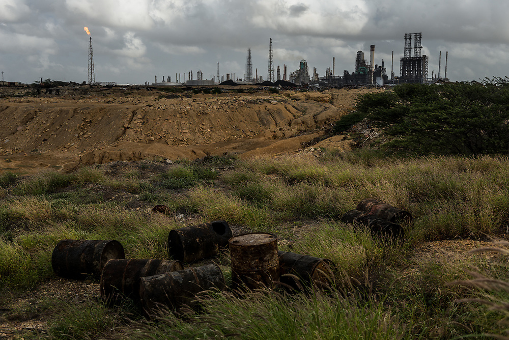 LOS TAQUES, VENEZUELA - DECEMBER 7, 2017: Not long ago, the sprawling Amuay  Refinery Complex on the Caribbean coast was the crown jewel of Venezuela's oil industry, capable of fueling not only the country's booming economy but producing an abundance of lucrative gasoline and diesel for export. Today the complex -- like the state oil company that runs it -- is in severe decay, its inert distillation towers a rusty symbol of Venezuela's economic collapse. Crippled by the crisis, the complex is closing out the year operating at only 20 percent capacity, with 76 of its 84 plants paralyzed. The spiraling problems here are emblematic of the broader crisis affecting the state-run oil company, Petróleos de Venezuela. Once the economic engine of this nation's prosperity,  it now teeters on the brink of collapse, its failures at once a symptom and a cause of the nation's downward economic spiral. PHOTO: Meridith Kohut for The New York Times