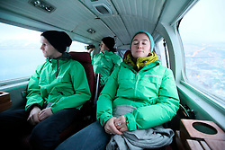 NORWAY BARENTS SEA 6DEC15 - Greenpeace campaigners Larissa Baeumer, Christian Bussau of Germany and Erlend Tellnes (L) of Norway during the surveys flight to the production platform Goliat in the Barents Sea operated by Italian energy compay Eni. It is the world's most northerly oil production platform.<br /> <br /> jre/Photo by Jiri Rezac / Greenpeace<br /> <br /> © Jiri Rezac 2015