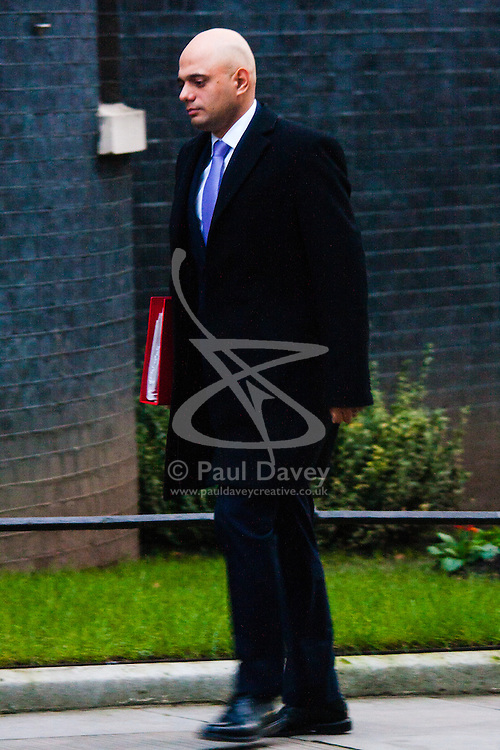 Downing Street, London, January 20th 2015. Ministers attend the weekly cabinet meeting at Downing Street. PICTURED: Sajid Javid MP, Secretary of State for Culture, Media and Sport