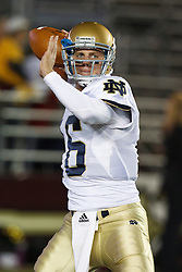 October 2, 2010; Chestnut Hill, MA, USA;  Notre Dame Fighting Irish quarterback Nate Montana (16) warms up before the game against the Boston College Eagles at the Alumni Stadium.